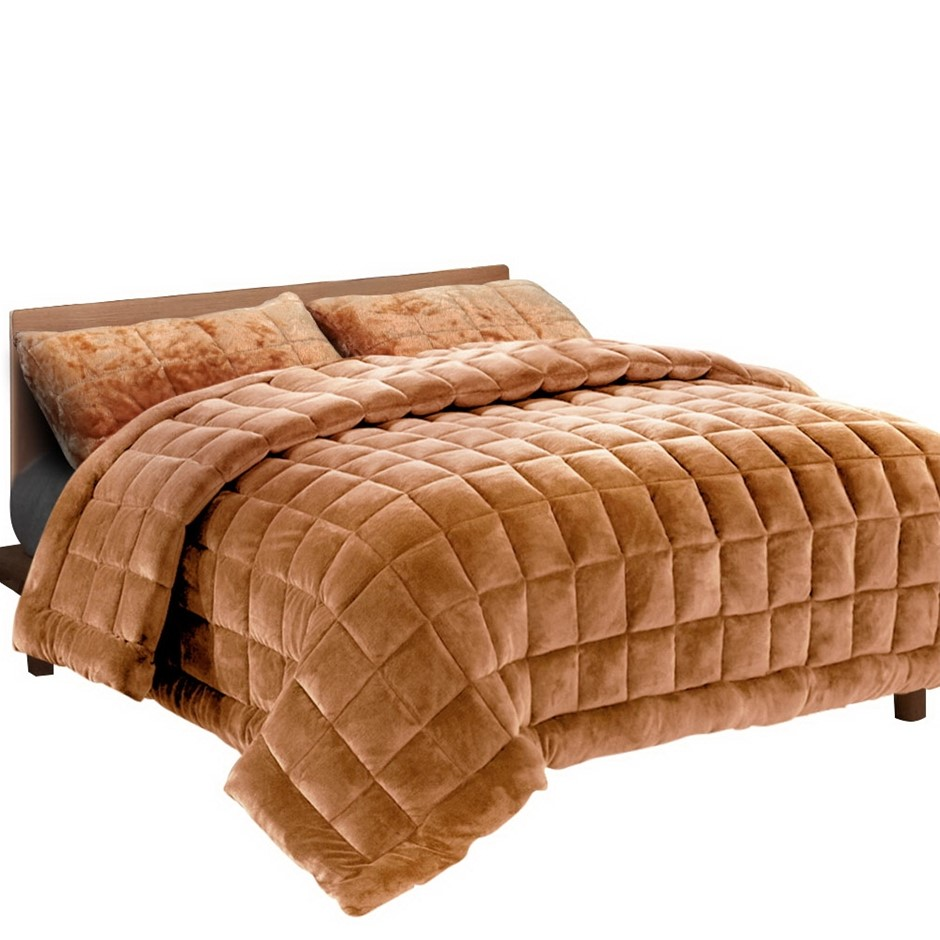 Giselle Bedding Faux Mink Quilt Comforter Fleece Blanket Latte Super King