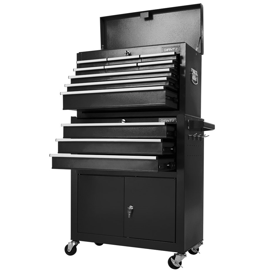 Giantz Tool Box Chest Cabinet Trolley Cart Garage Toolbox Storage - Black