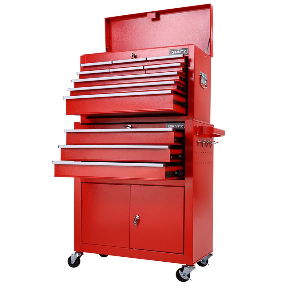 Giantz Tool Box Chest Cabinet Trolley Cart Garage Toolbox Storage - Red