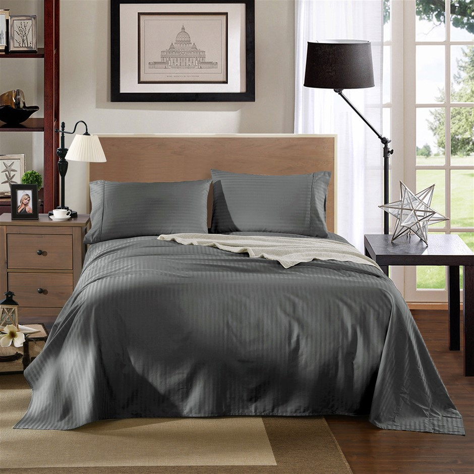 Kensington 1200TC 100% Egyptian Cotton Sheet Set In Stripe Single -Charcoal