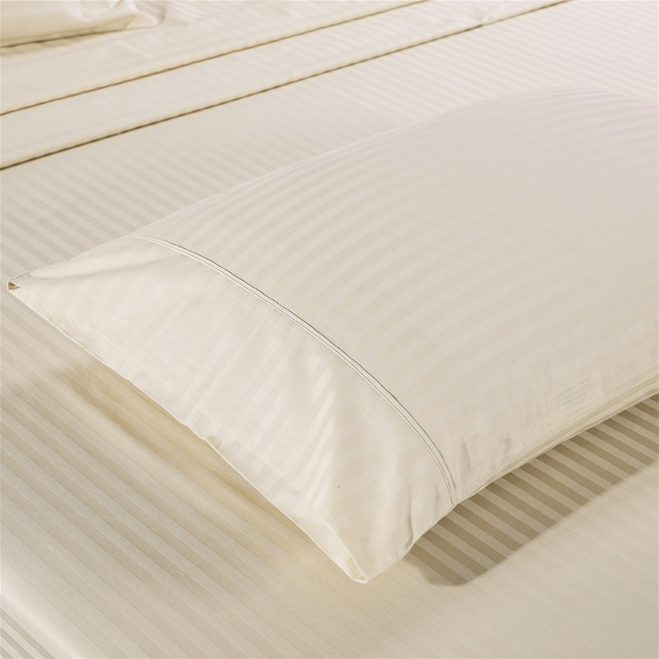 Kensington 1200TC 100% Egyptian Cotton Sheet set in Stripe Double - Sand