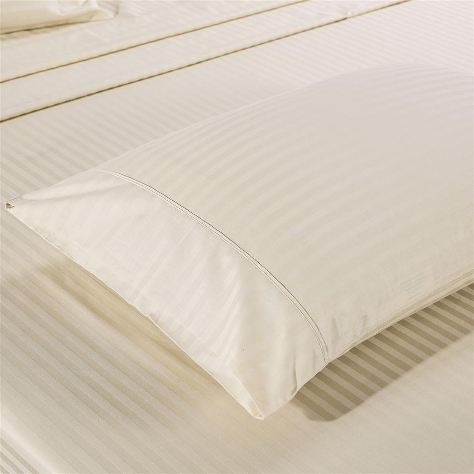 Kensington 1200TC 100% Egyptian Cotton Sheet set in Stripe Double - Sand