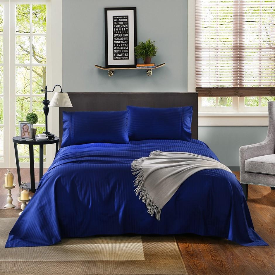 Kensington 1200TC 100% Egyptian Cotton Sheet Set In Stripe-Double - Indigo