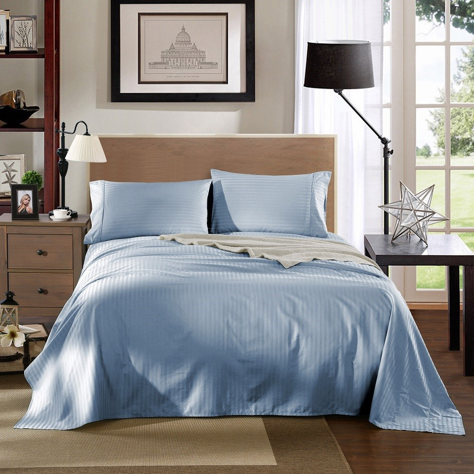 Kensington 1200TC 100% Egyptian Cotton Sheet Set In Stripe-King - Chambray