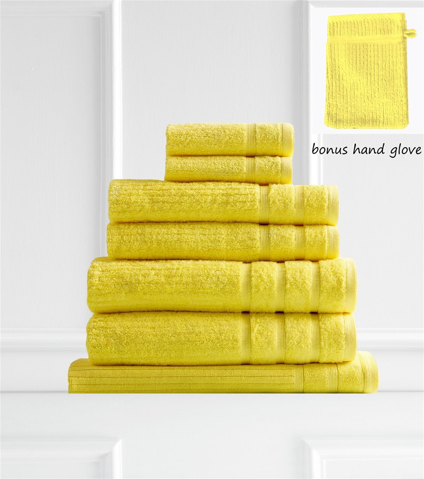 Royal Comfort Eden 600GSM 100% Egyptian Cotton 8 Piece Towel Pack - Yellow