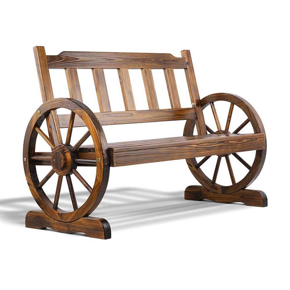 Gardeon Wagon Wheel Bench - Brown
