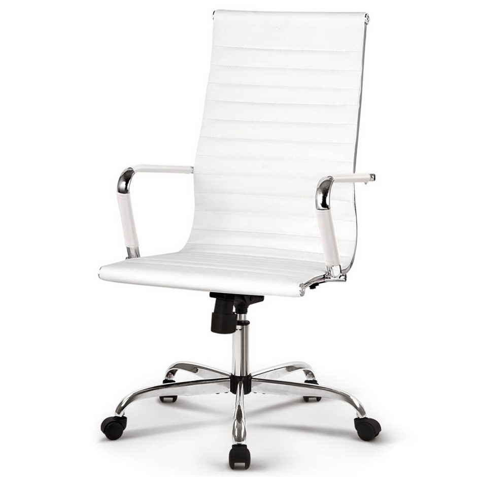 Artiss Eames Replica Office Chairs PU Leather Executive Computer Seat White