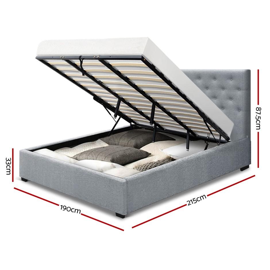 a2acd3cb40d5 Artiss King Gas Lift Bed Frame Base Mattress Platform Fabric Wooden Grey