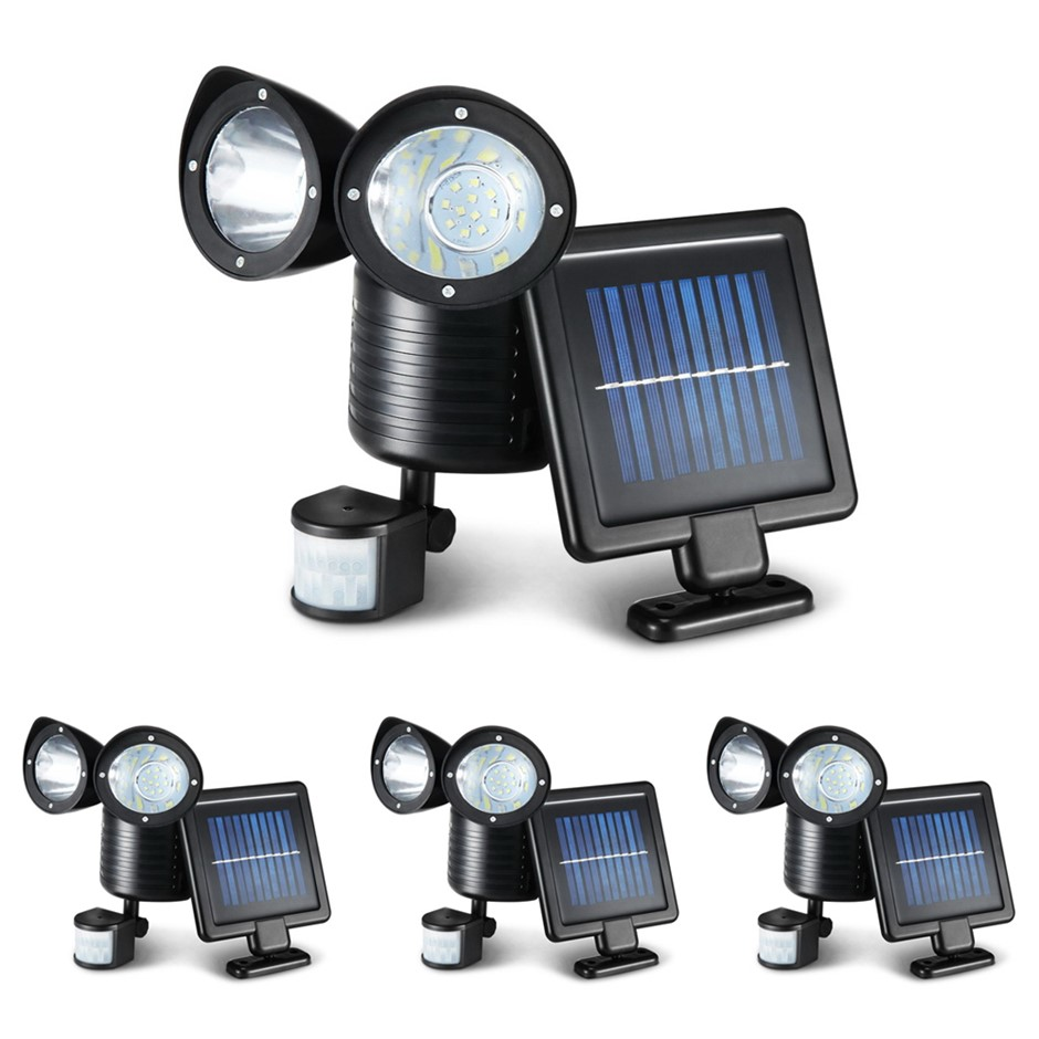 4X 22 LED Solar Powered Dual Light Security Motion Sensor Flood Lamp