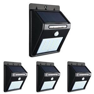4X 20 LED Solar Powered Wall Motion Sens