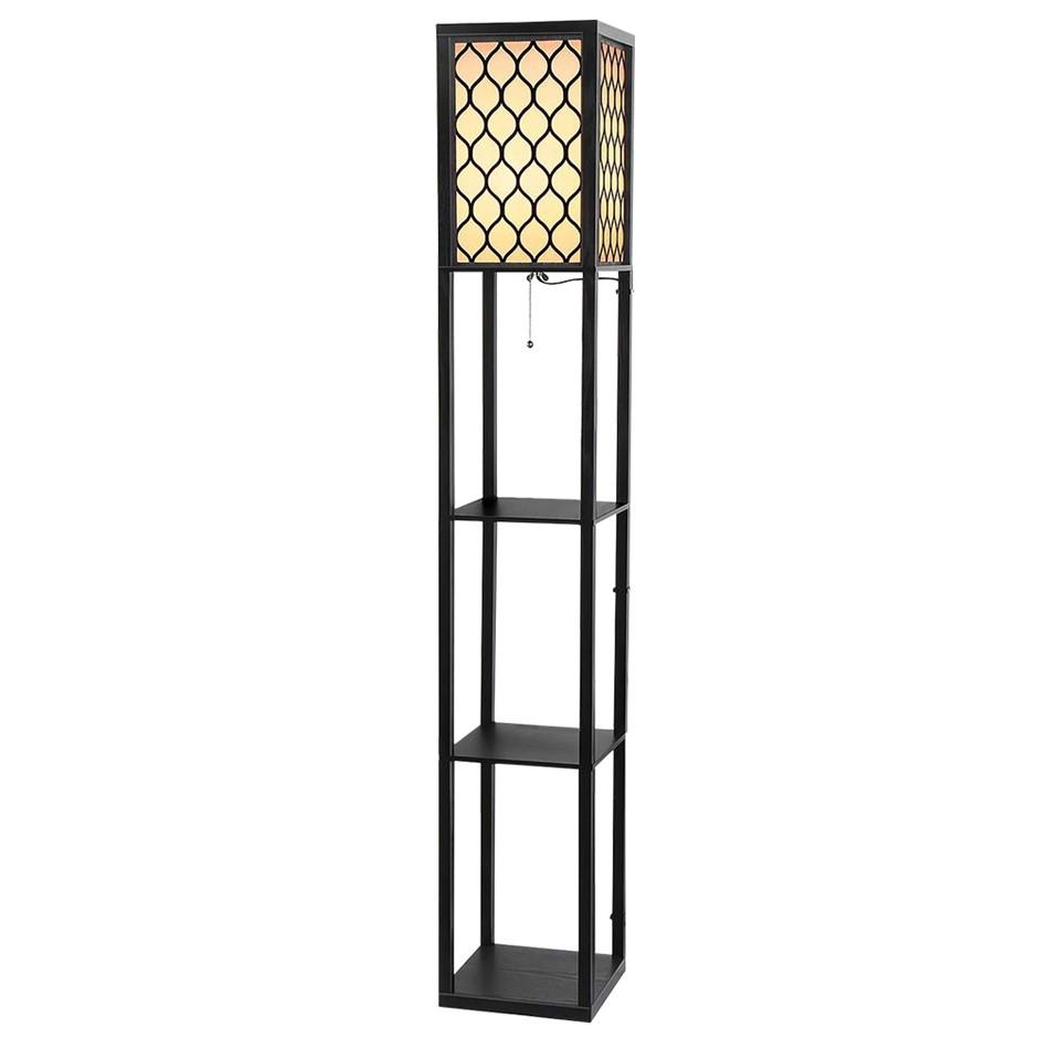 Artiss Shelves Floor Lamp Vintage Wood Standing Reading Light