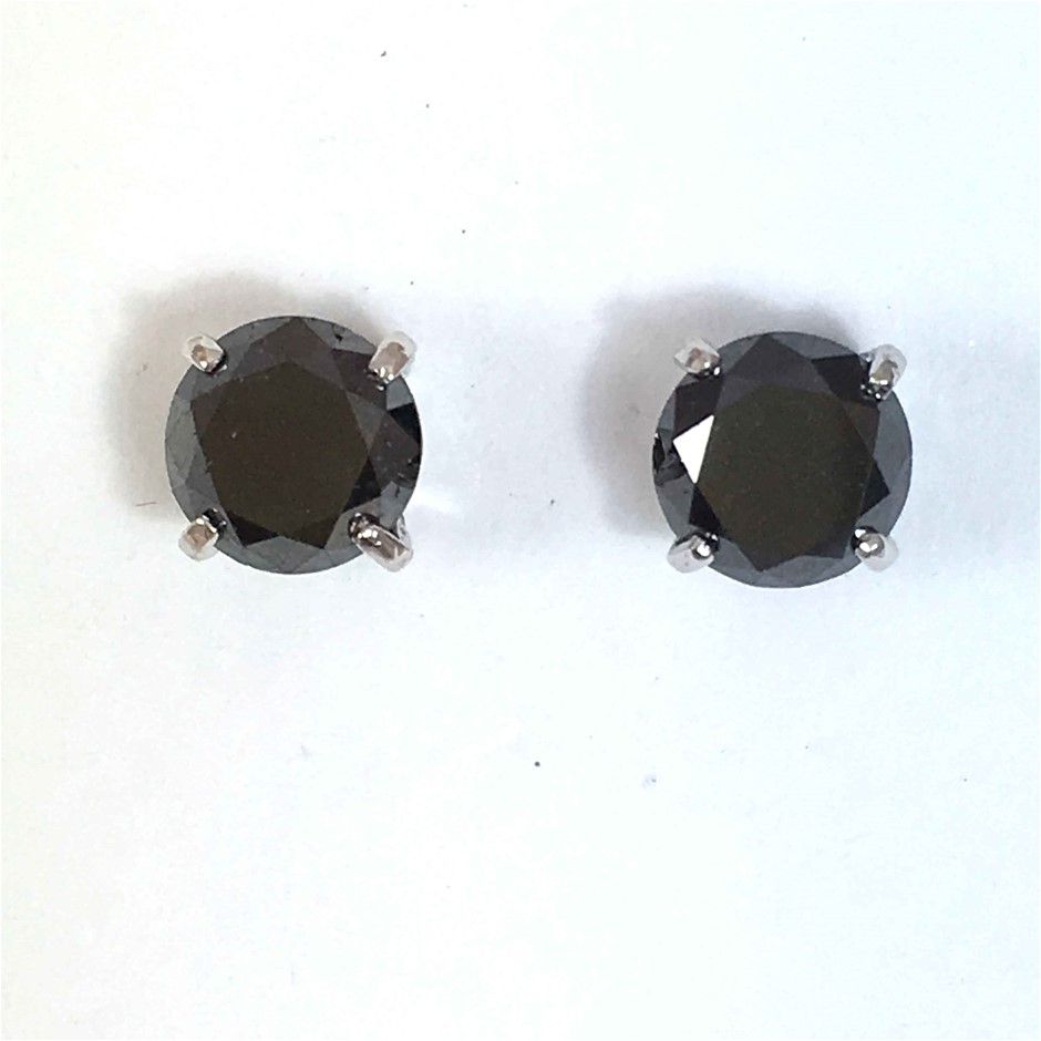 18ct White Gold, 3.08ct Diamond Earring