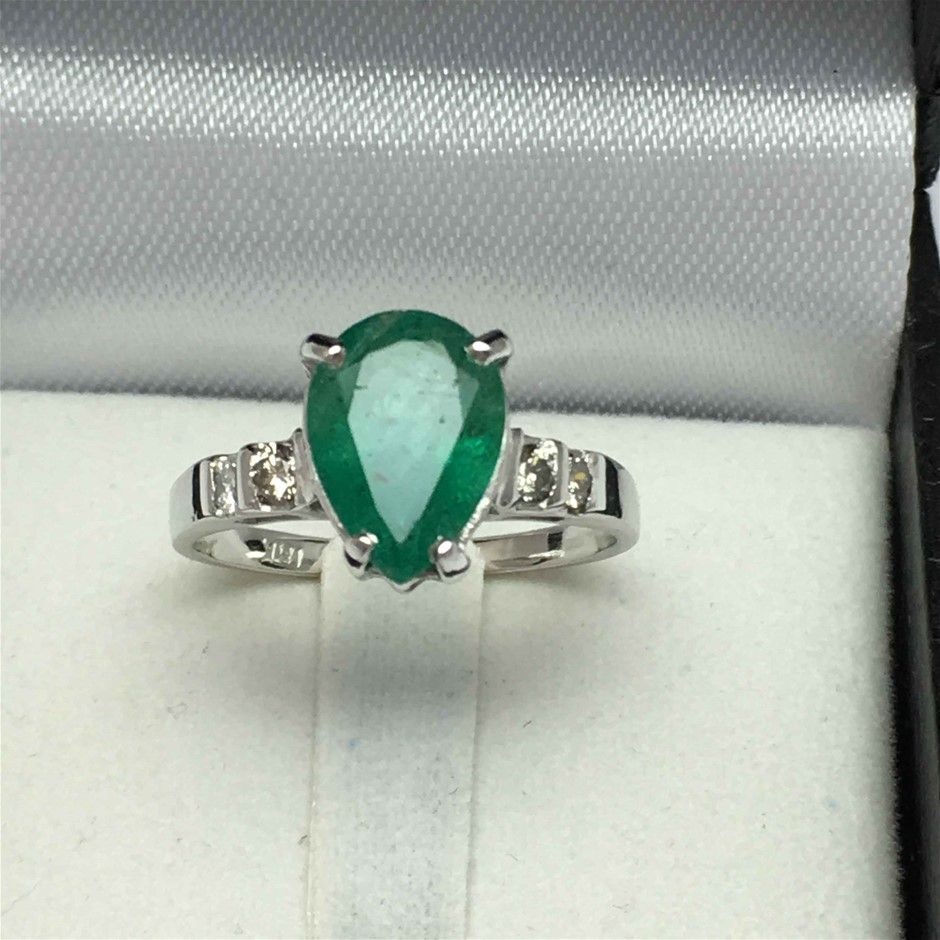 18ct White Gold, 2.20ct Emerald and Diamond Ring