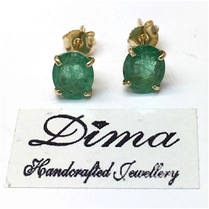 18ct Yellow Gold, 3.85ct Emerald Earring