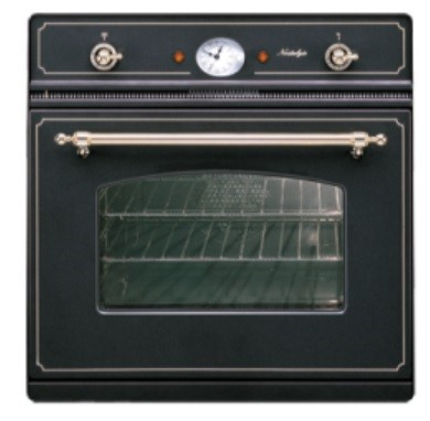 ILVE 60cm Matt black Nostalgie Single Oven. Model: 600NMP/M