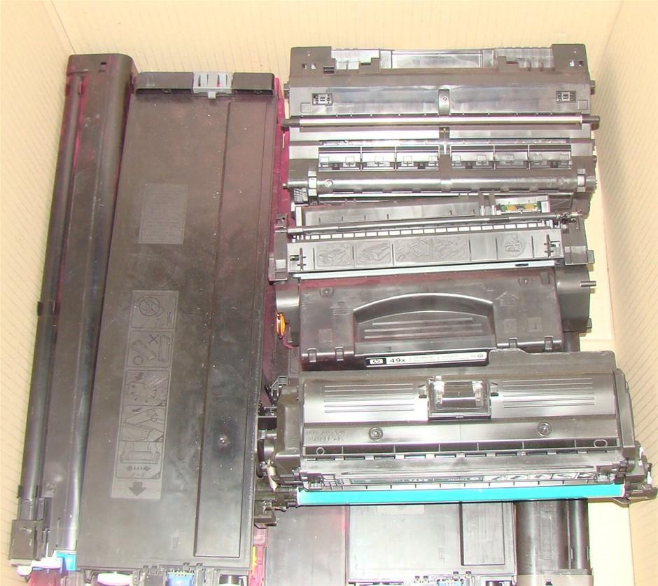 Box of Assorted Approximately 25 units used and Damaged Toner Cartridges