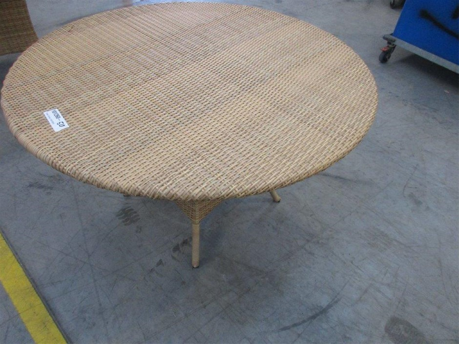Wicker Table and Glass Top