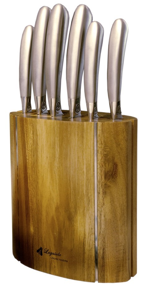 Laguiole by Louis Thiers Mondial 7-Piece Kitchen knife Set With Block
