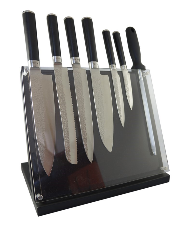 Laguiole by Louis Thiers Artisan 8-piece Knife set, Magnetic Knife Block
