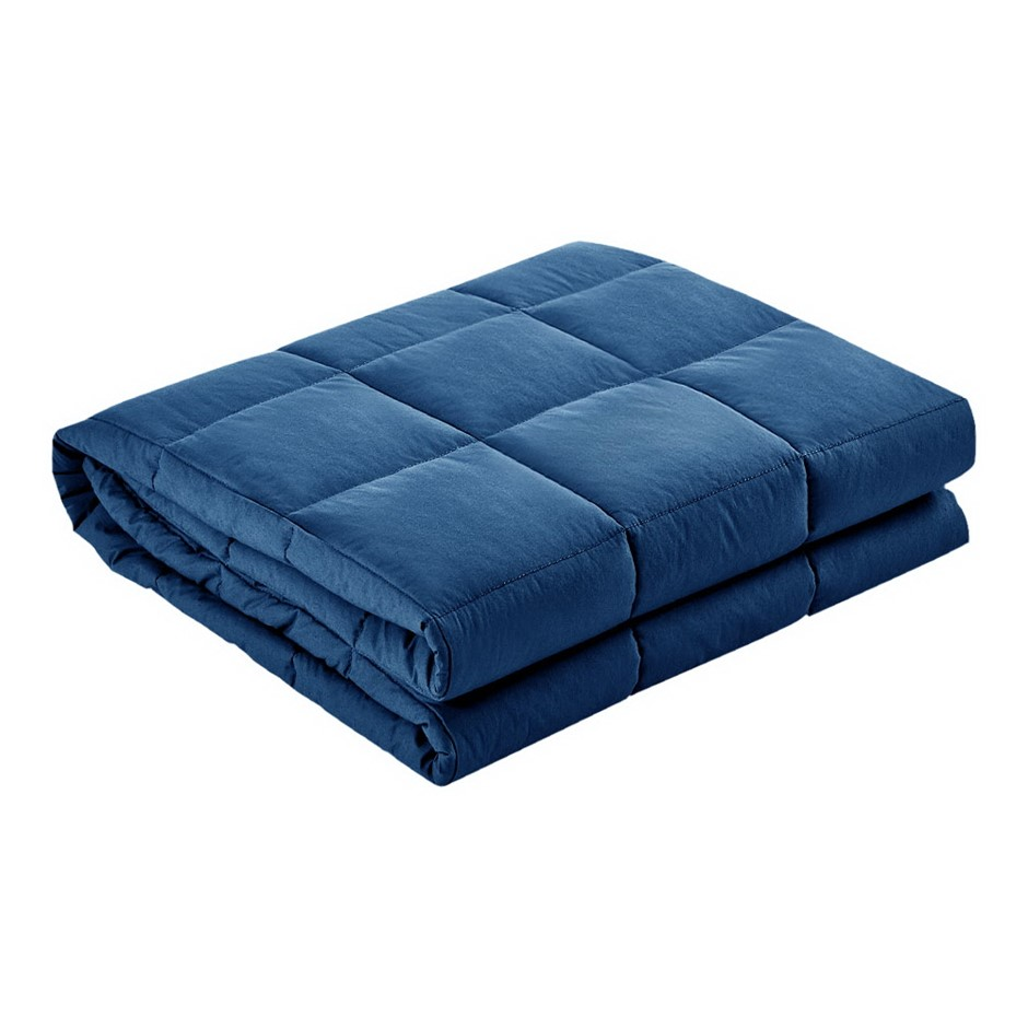 Giselle Bedding 5kg Cotton Weighted Gravity Blanket Deep Relax Adult Navy