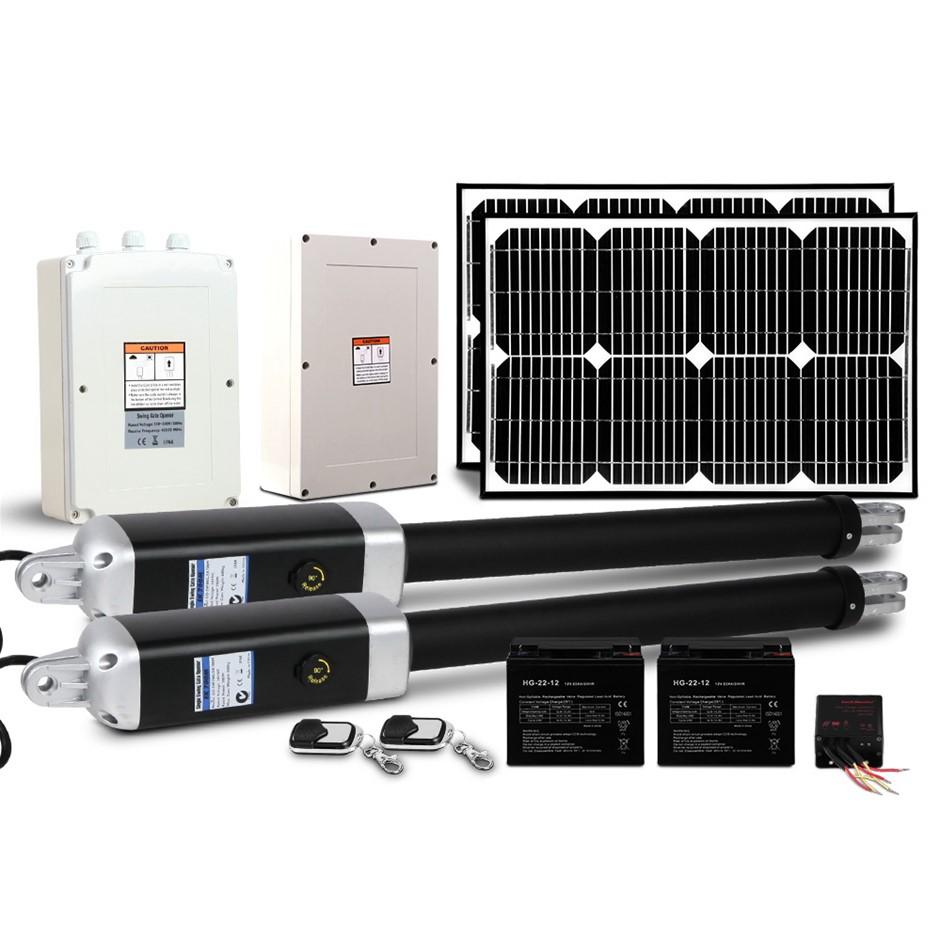 LockMaster Swing Gate Opener Auto 40w Solar Power Remote Control 1200KG