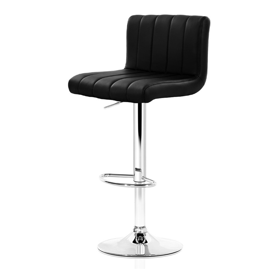 Artiss 2x Leather Bar Stools Chair Bar Stool Black Lana Gas Lift Swivel