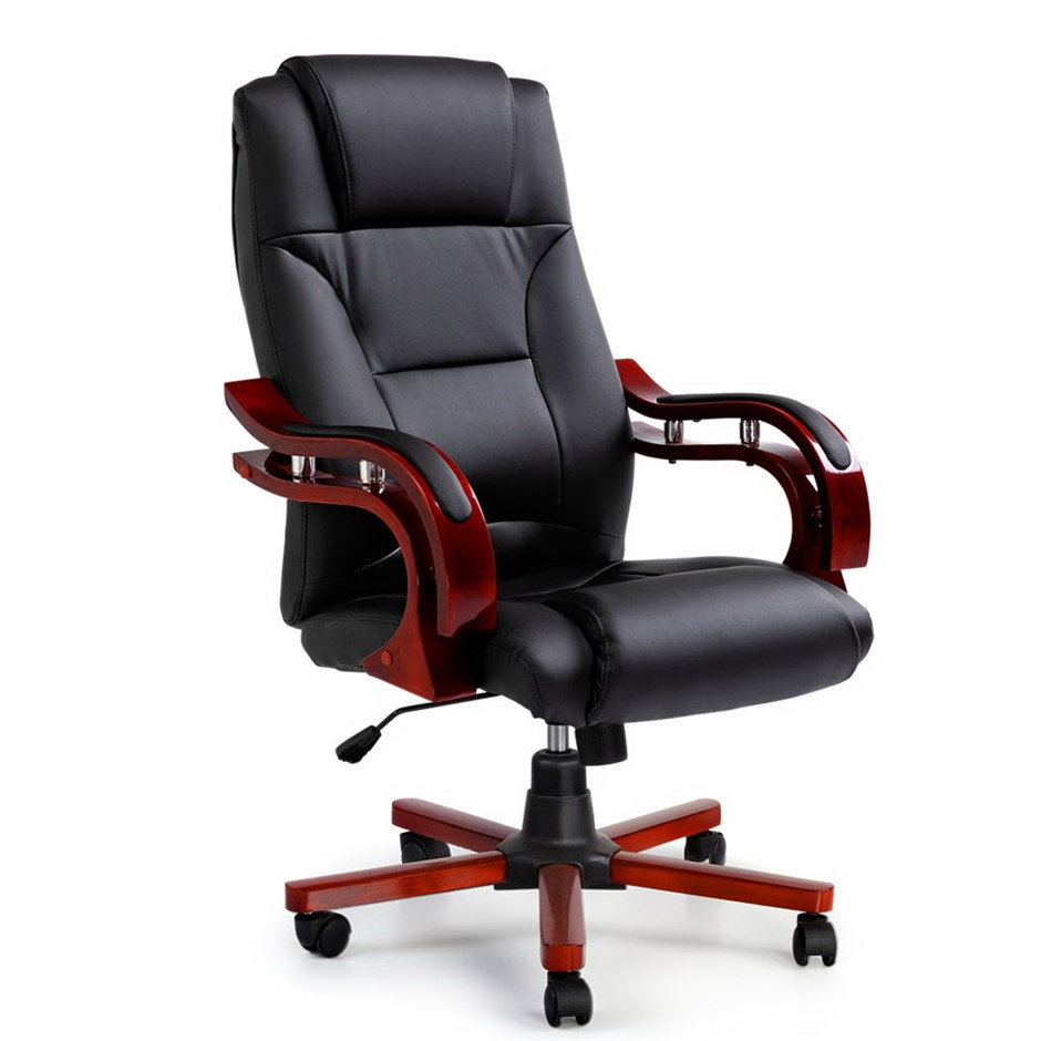 Artiss Executive Wooden Chair Wood Computer Chairs Leather Seat Sherman