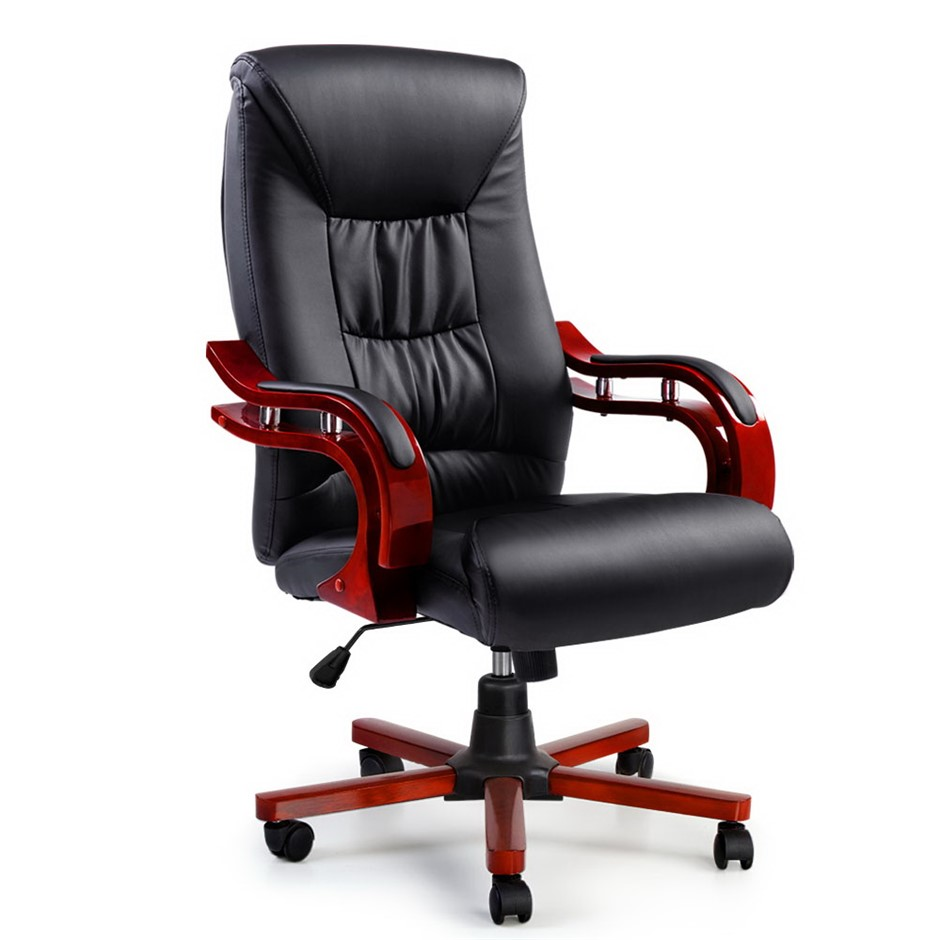 Artiss Executive Wooden Chair Wood Computer Chairs Leather Seat Sheridan