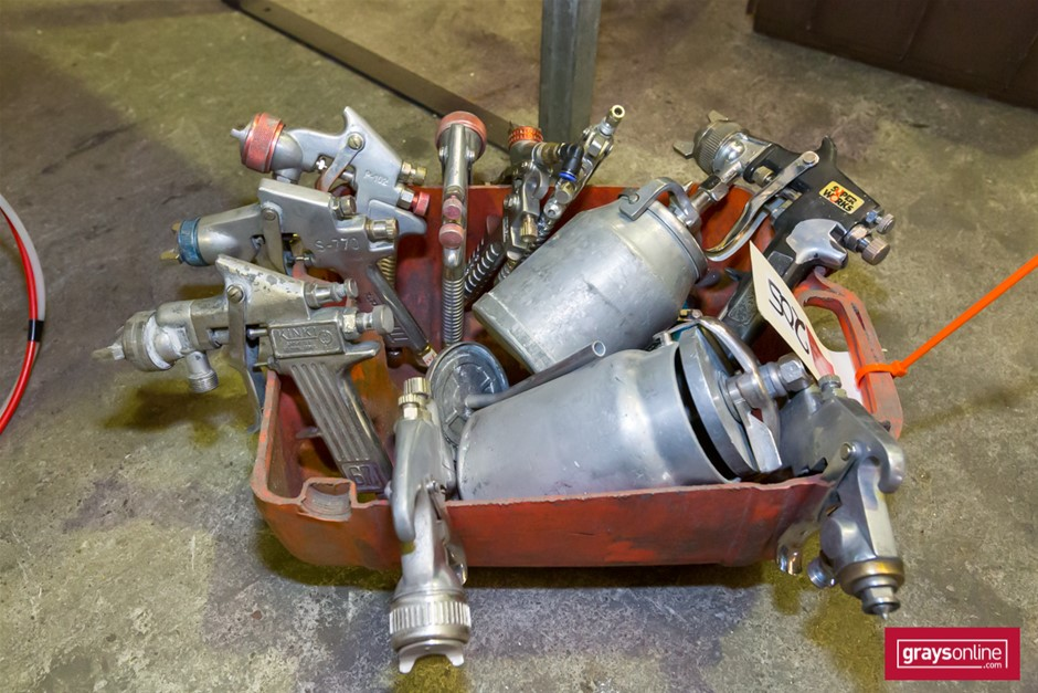 Qty Assorted Pneumatic Paint Gun Components