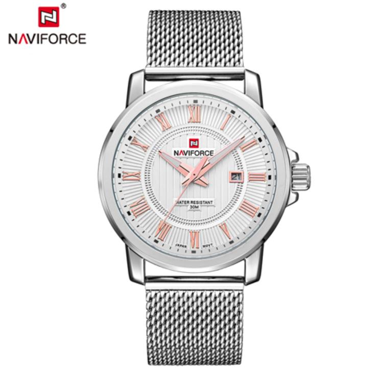 NAVIFORCE Men's Sport & Elegant Analog Quartz Mesh Steel Bracelet Watch