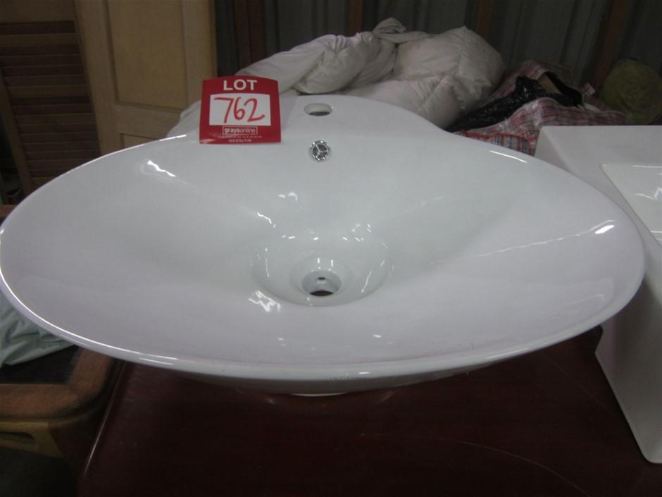 White Ceramic Vanity Basin. Round.