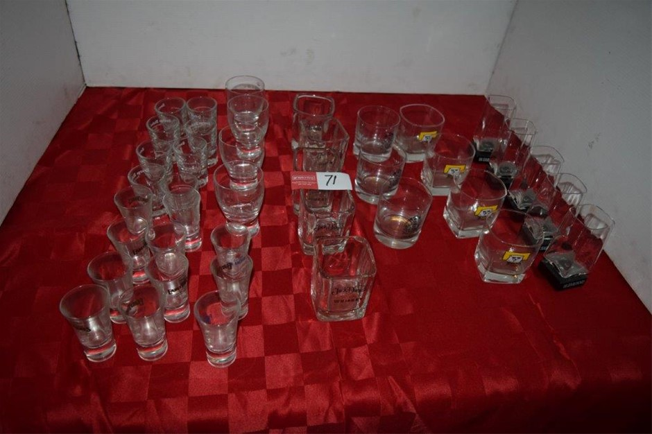 Lot of 32 Assorted Shot and Whiskey Glasses
