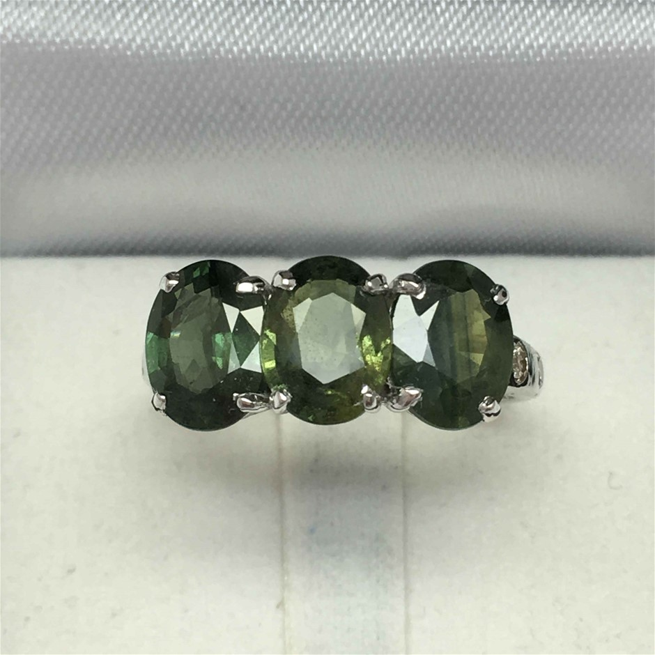 18ct White Gold, 5.44ct Green Sapphire and Diamond Ring