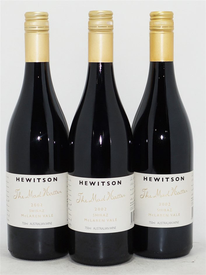 Hewitson `The Mad Hatter` Shiraz 2002 (3x 750mL), McLaren Vale. Screwcap.