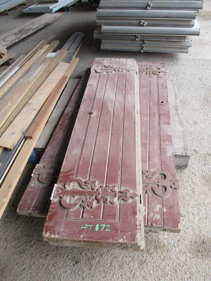 2 Pair Timber Doors With Ornate Hinges