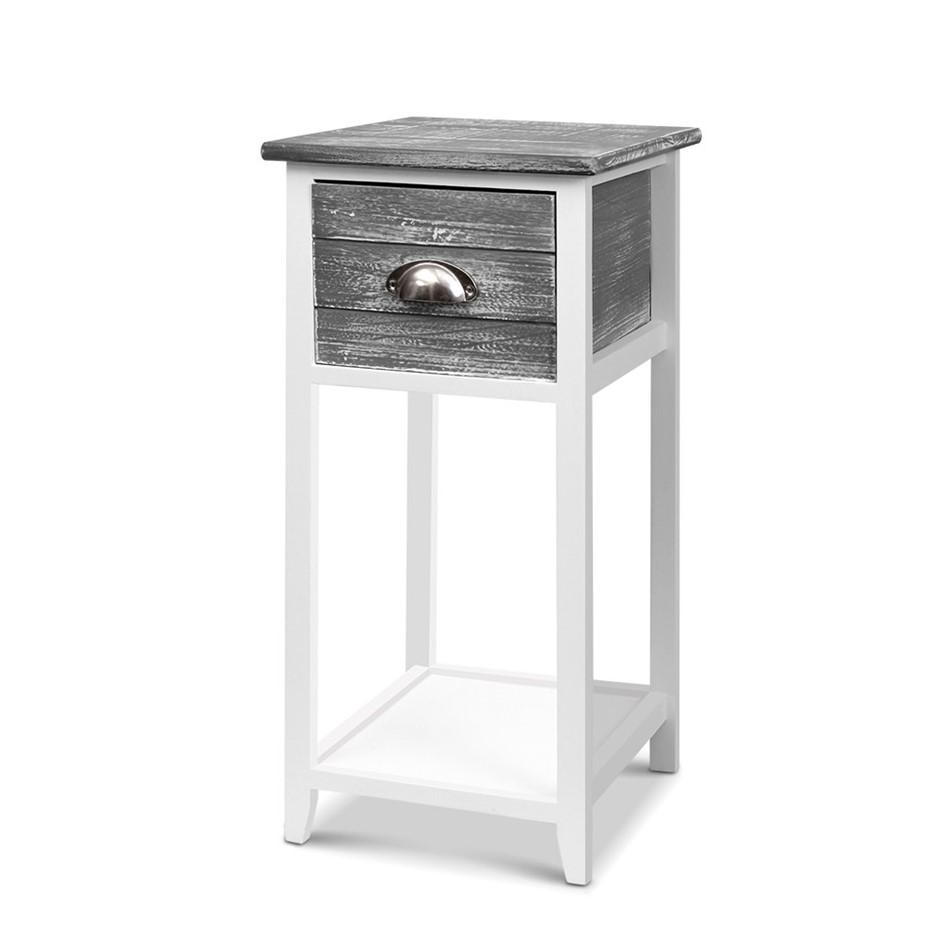 Artiss Bedside Table Nightstand Drawer Storage Cabinet Side Shelf Unit Grey