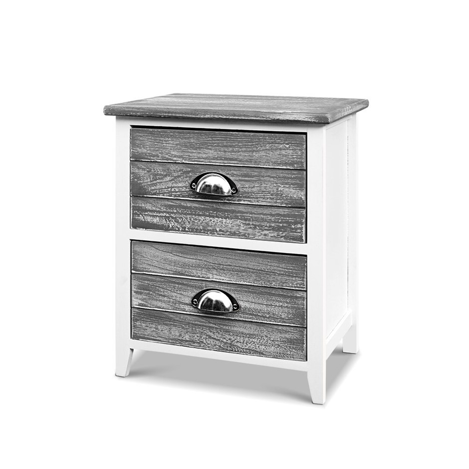 Bedside Tables Drawers Side Table Cabinet Nightstand Grey Vintage Unit x2