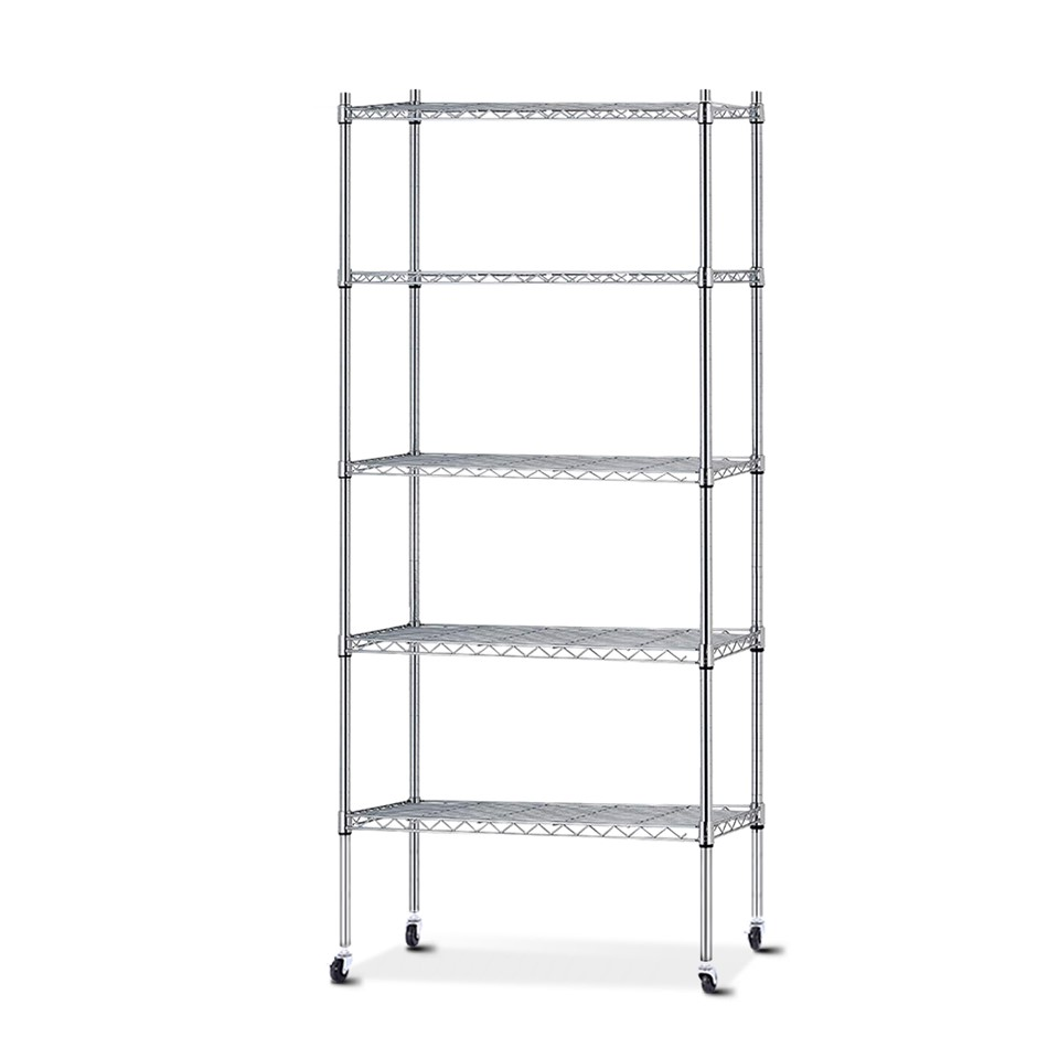 90cm 5 Tier Metal Wire Rack Shelving Unit Chrome Storage Trolley Silver