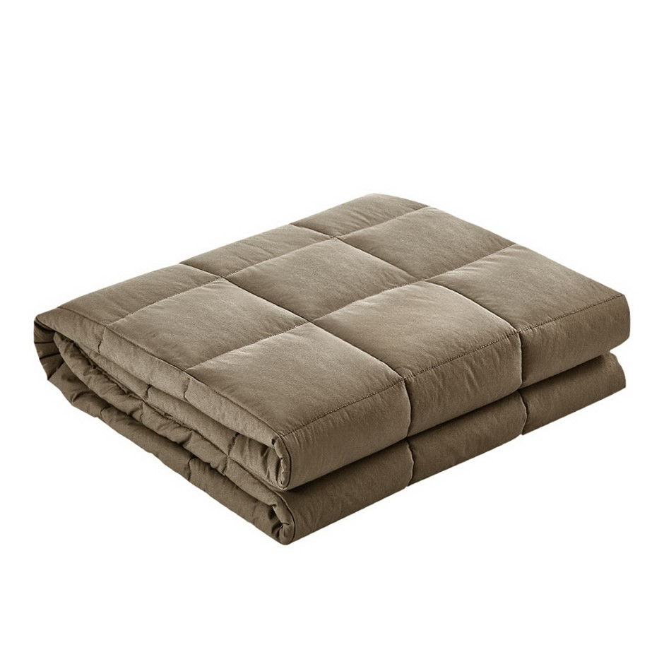 Giselle Bedding 9KG Cotton Gravity Weighted Blanket Deep Calm Adult Brown