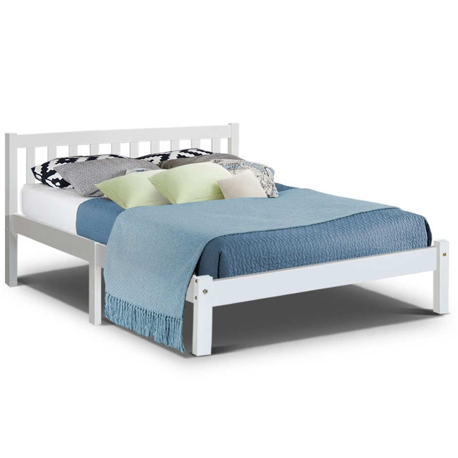 Artiss Double Full Size Wooden Bed Frame SOFIE Pine Timber Mattress Base