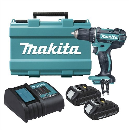 MAKITA 18V Drill Driver Kit c/w 2 x 1.5Ah Batteries & Charger in Blow Mould