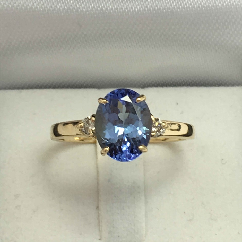 18ct Yellow Gold, 2.38ct Tanzanite and Diamond Ring