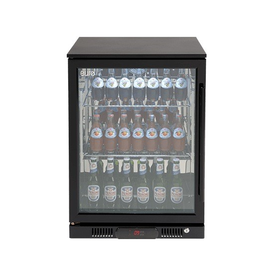Euro 138 litre Black Single Door Beverage Cooler, Model: EA60WFBL