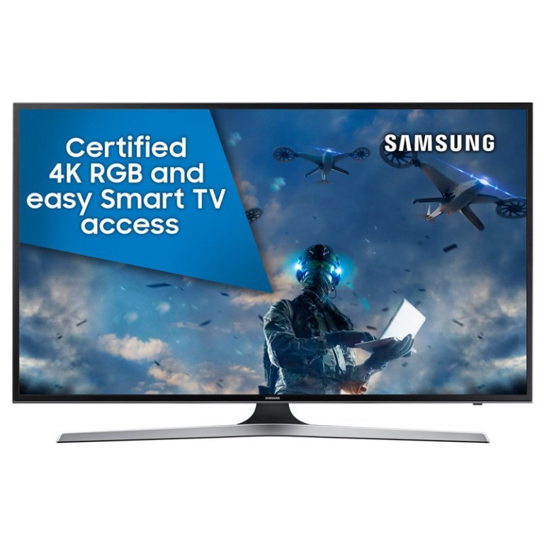 SAMSUNG 55ins Television, AU55MU6100W c/w Stand, Remote & Cord. N.B. Damage