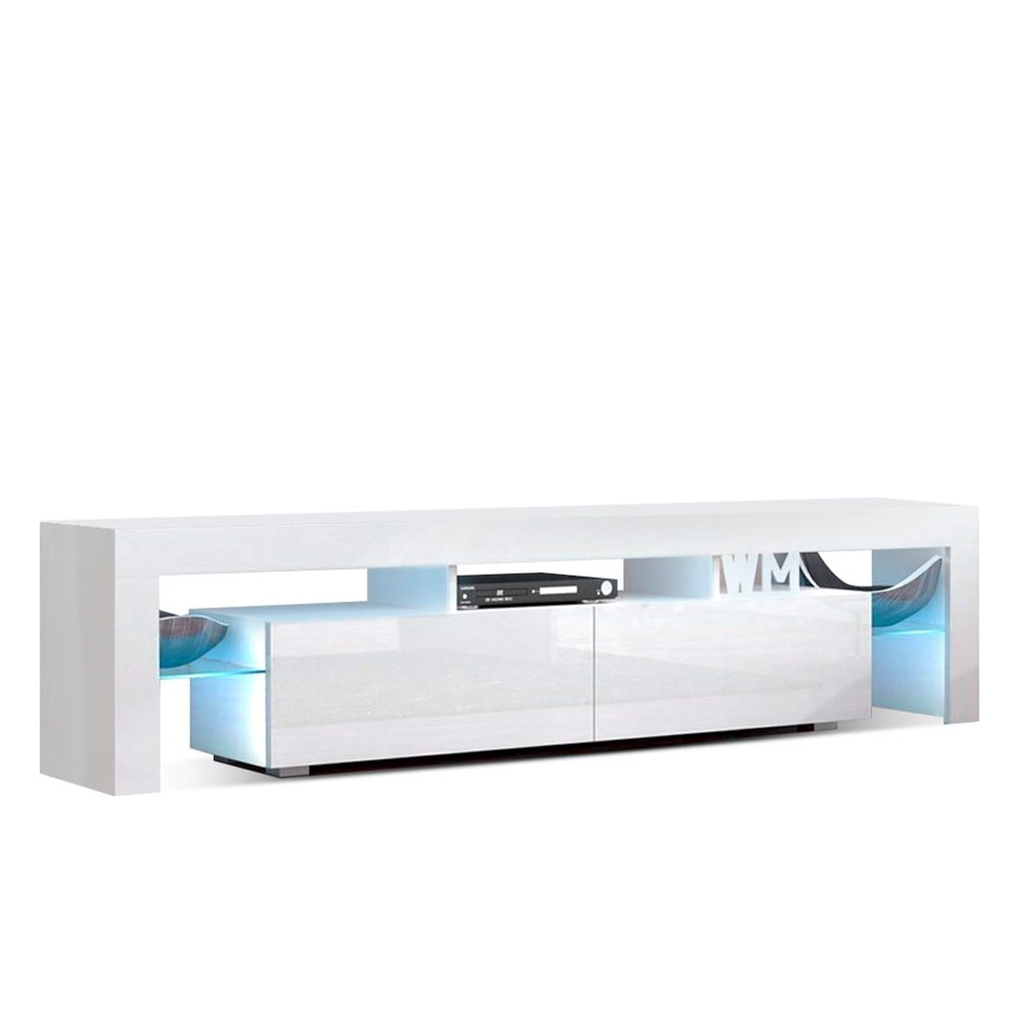 Artiss 189cm RGB LED TV Stand Cabinet Gloss Tempered Glass Shelf White