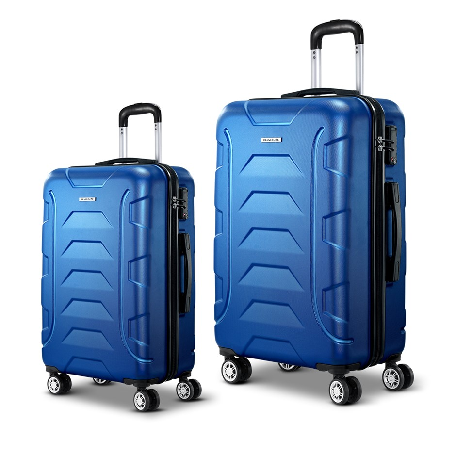 Wanderlite 2PCS Carry On Luggage Sets Suitcase TSA Travel Hard Case Blue