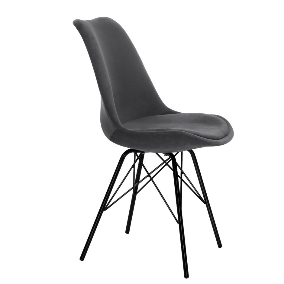 Artiss 2x Dining Chairs Eames Chair DSW Velvet Fabric Padded Iron Legs Grey