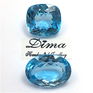 Two Loose Blue Topaz, 95.35ct in Total