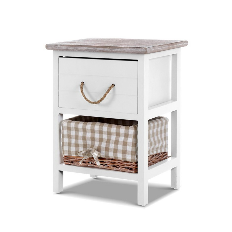 Artiss 2x Bedside Tables Shabby Chic Storage Cabinet Drawers Side Basket