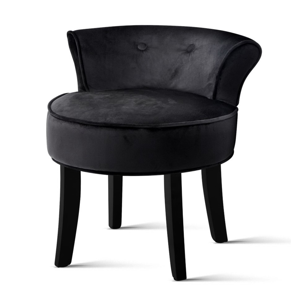 Artiss Velvet Vanity Stool Backrest Stools Dressing Table Bedroom Black